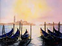 Gondolas by Twilight (Watercolour)
