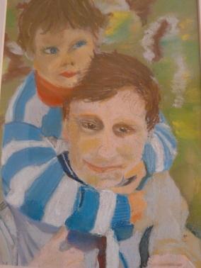 Michael mit Danny, Pastelkreiden 2008 Brigitte-1.JPG
