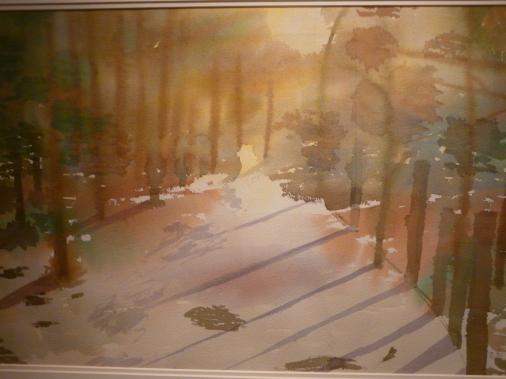 Wald im Sonnenlicht Aquarell-1.Brigitte 08.JPG